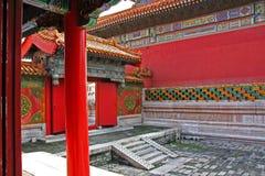 Borggård av en pavillon i Forbidden City, Peking, Kina Arkivbild