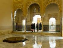 Borggård av guld- rum på den Comares slotten, Alhambra Fotografering för Bildbyråer