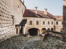 Borggård av Ledec kast, Ledec nad Sazavou, Tjeckien Royaltyfri Fotografi