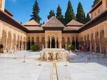 Borggård av lejonen, Granada, Spanien Arkivfoto