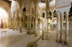 Borggård av lejonen (Uteplats de los Leones) i Alhambra Arkivfoton