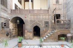 Borggård av mer gayer Anderson House, ett 17th århundradehus, Kairo, Arkivfoto