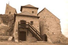 Borggård av Rupea Reps fästning, Transylvania, Rumänien Arkivbilder