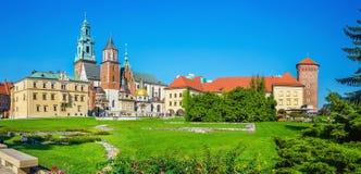 Borggård av Wawel den kungliga slotten, Cracow, Polen Arkivfoto
