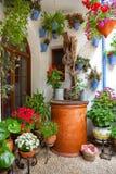 Borggård med dekorerade blommor och den gamla brunnen - Cordoba uteplatsFe Royaltyfria Foton