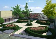 Borggård som landskap klassisk stil, tolkning 3D Royaltyfria Bilder