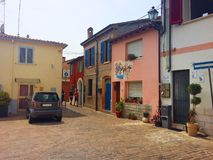 Borggården av den gamla staden av Rimini italy arkivbild