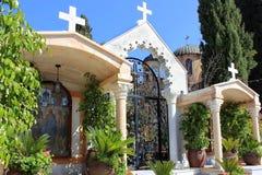 Borggård i den ortodoxa kyrkan av det första miraklet, Kafr Kanna, Israel Fotografering för Bildbyråer