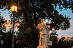 Borghese-Park in Rom, Sonnenuntergang Stockfotos