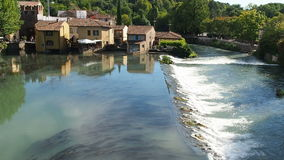Borghetto di Valeggio sul Mincio Verona Italy. View of Borghetto di Valeggio sul Mincio, Verona Italy from visconteo bridge stock footage