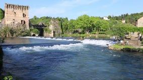 Borghetto, Italia 05/01/2019: escena de la naturaleza de la ciudad de Borghetto en el río de Mincio almacen de video
