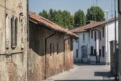 Borghetto Lodigiano Italië: historisch landbouwbedrijf Royalty-vrije Stock Foto
