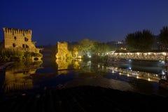 Borghetto,  Mincio, Italia  Valeggio. Night panorama of Borghetto on the river Mincio, Europe Italy Lombardy Royalty Free Stock Images