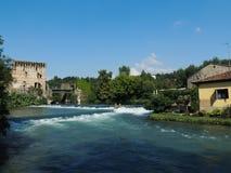 Borghetto Sul Mincio 5. River and Medieval Bridge with gate, Borghetto Sul Mincio, Italy Royalty Free Stock Image