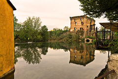 Borghetto sul mincio. Small village on river in Italy Royalty Free Stock Images
