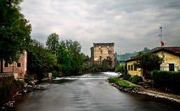Borghetto sul mincio. Small village on river in Italy Royalty Free Stock Image