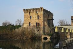 Borghetto Valeggio on the mincio Mantova Italy historic village Stock Photo