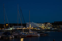 Borgholm harbor by night Stock Photography