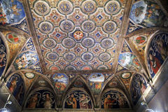 Borgia apartments. The ceiling of the pope borgia apartments inside the vatican museums at rome in italy stock image