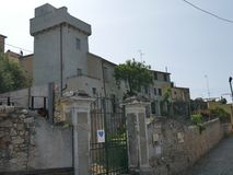 Borgio - defense tower. Built in XVIII century in order to defens the village from enemy attack from the sea stock images