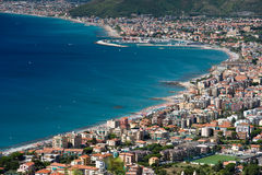 Borgio Verezzi town. Aerial view of Borgio Verezzi town on coastline of Savona, Liguria, Italy Stock Photos