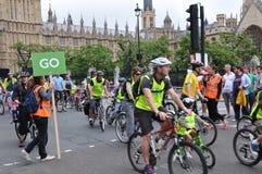 Borgmästare av London Skyride som cyklar händelse i London, England Fotografering för Bildbyråer