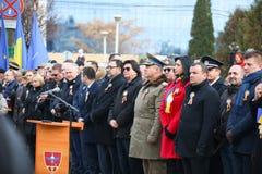 12/01/2018 - Borgmästare av Timisoara som ger ett anförande på de rumänska berömmarna för nationell dag i Timisoara, Rumänien royaltyfri foto