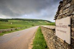 BORGOÑA - CORTON: camino escénico que cruza la región del vino cerca de Corton francia imagenes de archivo