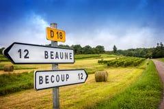borgoña Muestras de carretera nacional francesas del vino que llevan a los viñedos superiores de Borgoña franco imagen de archivo
