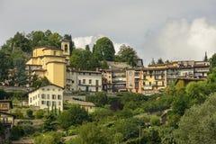 Borgo Canale and its church, Bergamo Stock Photo