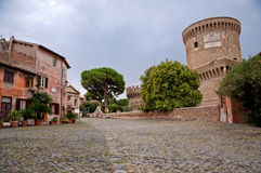 Borgo di Ostia antica and Castello di Giulio II at Rome Royalty Free Stock Image