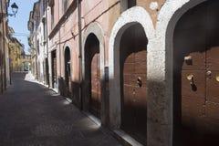 Borgo Velino Rieti, Λάτσιο, Ιταλία, παλαιά οδός Στοκ φωτογραφίες με δικαίωμα ελεύθερης χρήσης