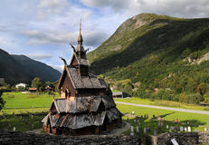Borgund梯级木教会在挪威 免版税库存图片