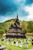Borgund,挪威 Stavkirke一个老木三倍教堂中殿梯级教会 免版税图库摄影