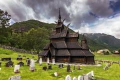 Borgund ударяет церковь, Норвегию стоковое фото