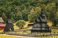 Borgund, Noorwegen Stavkirke een Oud Houten Drievoudig Schip Stave Churc stock afbeeldingen