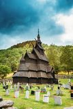 Borgund, Norway. Stavkirke An Old Wooden Triple Nave Stave Church Royalty Free Stock Photography