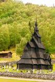 Borgund, Norwegia Stavkirke Stara Drewniana Potrójna Nave klepka Churc obraz stock
