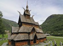 Borgund Stave Church. Is located in Borgund in Norway. It is a so-called triple-nave stave church. It is the best preserved of Norway's stave churches. It was Stock Image