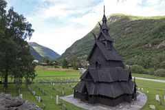 Borgund Stave church. Built in 1180 to 1250. And dedicated to the Apostle St. Andrew. It is one of the best preserved stave churches in the world, Norway Stock Photos