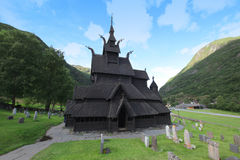 Borgund Stave church. Built in 1180 to 1250, and dedicated to th. E Apostle St. Andrew. It is one of the best preserved stave churches in the world, Norway Royalty Free Stock Photos