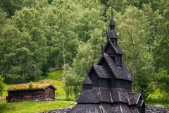 Borgund Stave Church, Norway. Borgund Stave Church - oldest preserved timber buildings. Wonderful tourist attraction of Norway Royalty Free Stock Image