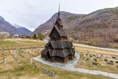 Borgund Stave Church in spring season under cloud sky. Norway Royalty Free Stock Image