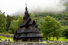Free Borgund Stave Church Stavkyrkje In Norway In Cloudy Weather Royalty Free Stock Photo - 130386625