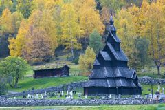Borgund Stavkirke. Old wooden church in Norway Royalty Free Stock Photography