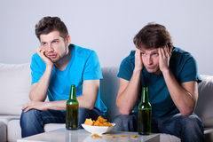 Boring beer and nachos evening Royalty Free Stock Photography