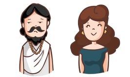 Boring brahman and happy woman vector illustration