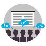 Boring business presentation with audience, simple flat vector style in circle Stock Images