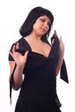 Boring girl. In black dress stock photography