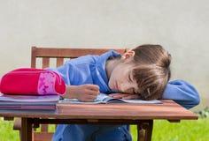 Boring homework. Girl is asleep over book Royalty Free Stock Photos